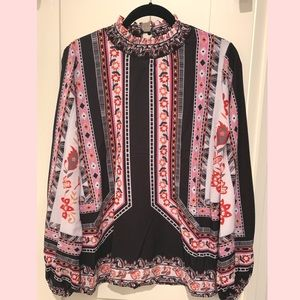 Tops - Boho Printed Blouse in Pink & Black